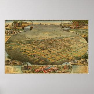 フェニックス、アリゾナののダイヤーズ地図(1885年の)重版 ポスター