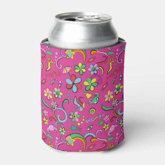 フェミニンでスタイリッシュなファッションのポップアートのスタイルパターン 缶クーラー