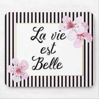 フェミニンでフランスのなピンクおよび黒いストライプおよび花 マウスパッド