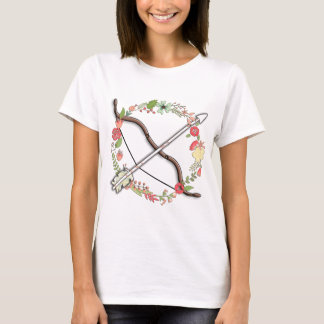 フェミニンなアーチェリーの弓及び矢 Tシャツ