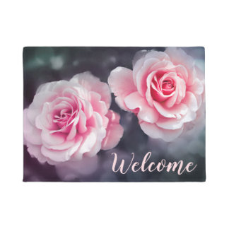 フェミニンなピンクのバラの花の写真の歓迎 ドアマット