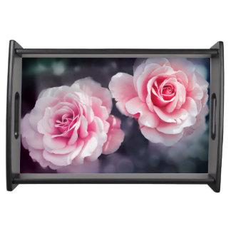 フェミニンなピンクのバラの花柄の写真 トレー