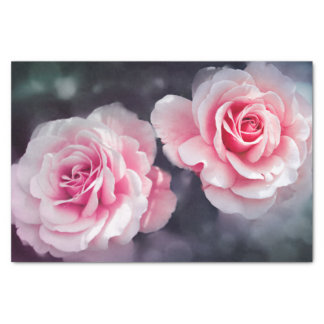 フェミニンなピンクのバラの花柄の写真 薄葉紙