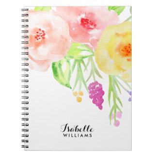 フェミニンな水彩画の花柄 ノートブック