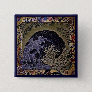 フェミニンな波、Hokusaiの日本人のファインアート 5.1cm 正方形バッジ