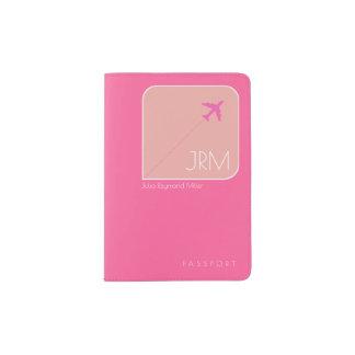 フェミニンな赤紫のピンク旅行 パスポートカバー