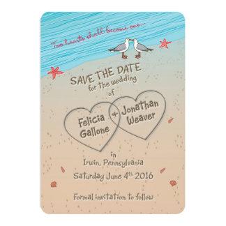 フェリシアのビーチの保存日付の招待状 カード