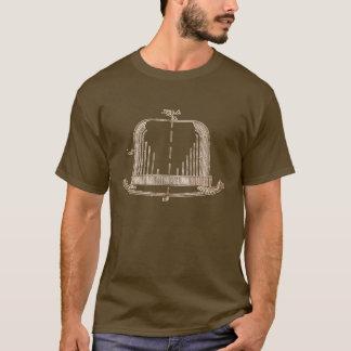 フェルトの帽子のパテントのイラストレーション[茶色の白] Tシャツ