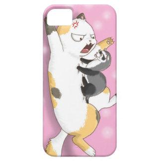 フェレットおよび茶色のぶち猫のおもしろいでかわいい電話箱 iPhone SE/5/5s ケース