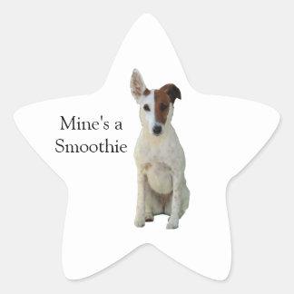 フォックステリア犬の滑らかな犬の美しい写真のステッカー 星シール