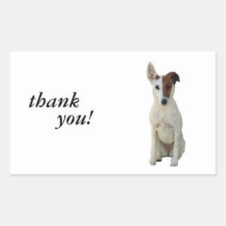 フォックステリア犬の滑らかな犬の美しい写真のステッカー 長方形シール
