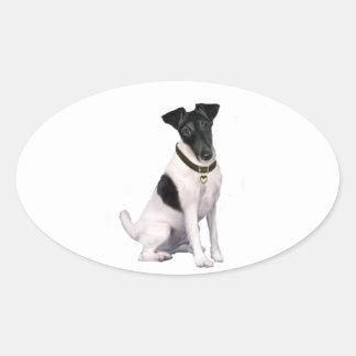 フォックステリア犬(a) -滑らかにして下さい-白黒 楕円形シール
