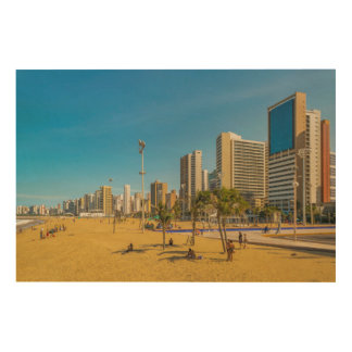 フォルタレザブラジルのビーチそして建物 ウッドウォールアート