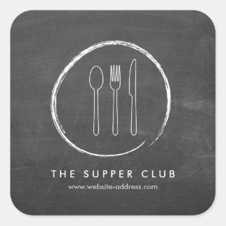 フォークのスプーンのナイフの黒板のロゴのステッカー 正方形シール