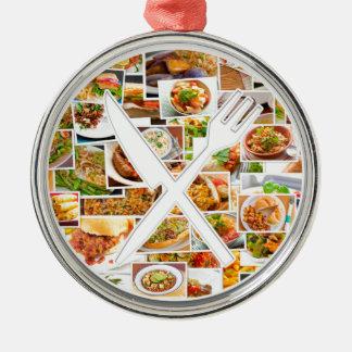 フォークのナイフの食糧 シルバーカラー丸型オーナメント