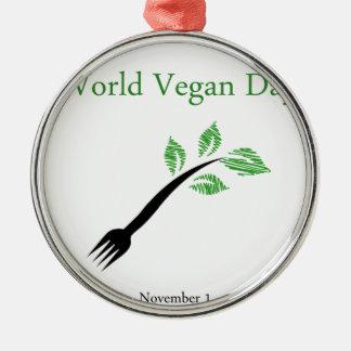 フォークの世界のビーガン日11月1日からの実生植物 シルバーカラー丸型オーナメント