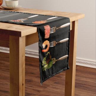 フォークの黒いテーブルのランナーの食糧 ショートテーブルランナー