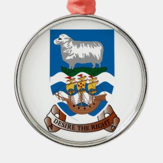 フォークランド島の紋章付き外衣 シルバーカラー丸型オーナメント