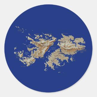 フォークランド諸国の地図のステッカー ラウンドシール