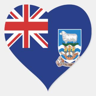 フォークランド諸国の旗のハートのステッカー ハートシール