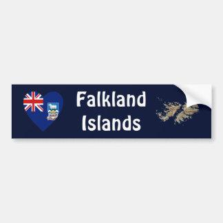 フォークランド諸国の旗のハート + 地図のバンパーステッカー バンパーステッカー