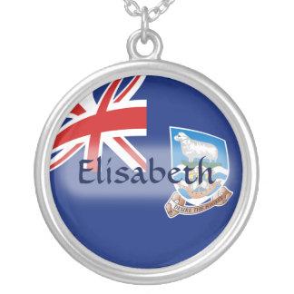 フォークランド諸国の旗 + 一流のネックレス シルバープレートネックレス