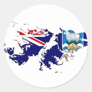 フォークランド諸国(マルヴィナス)の旗の地図FK ラウンドシール