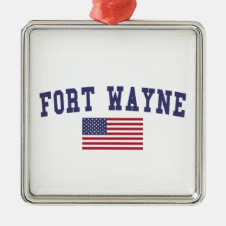 フォートウェイン米国の旗 メタルオーナメント