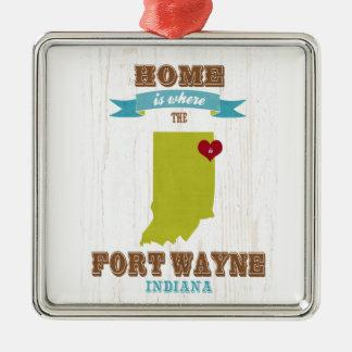 フォートウェイン、インディアナの地図-ところにハートはです家 メタルオーナメント