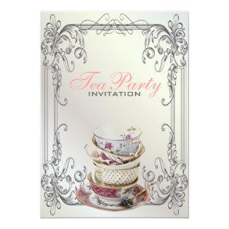 フォーマルでエレガントな渦巻の白いヴィンテージのお茶会 12.7 X 17.8 インビテーションカード