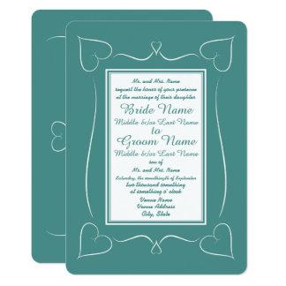 フォーマルなティール(緑がかった色)の結婚式のハートのモノグラムの招待状 12.7 X 17.8 インビテーションカード