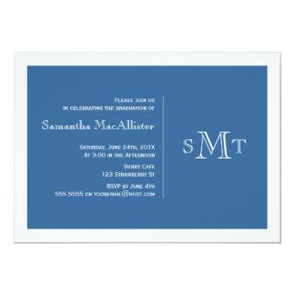 フォーマルなモノグラムの卒業の招待状-青 カード