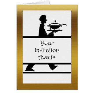 フォーマルな夕食の招待状、スープ深皿が付いているサーバー グリーティングカード