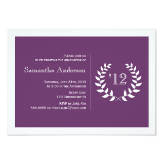 フォーマルな月桂樹の卒業の招待状-紫色 カード
