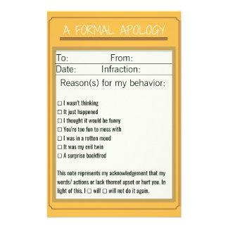 フォーマルな謝罪のチェックリストのデザイン3 便箋
