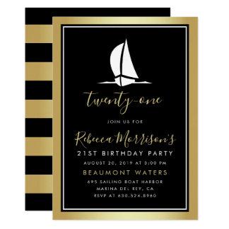 フォーマルな金ゴールドの黒く及び白い航行ボートの誕生日 カード