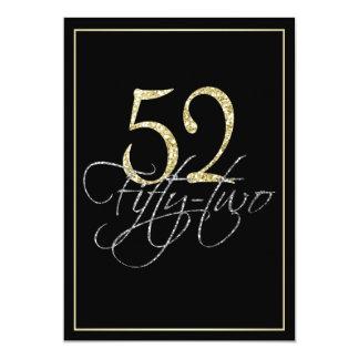フォーマルな銀製の黒および金ゴールドの第52誕生会 カード