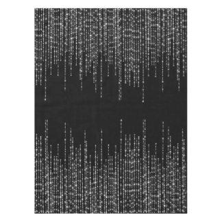 フォーマルな黒い銀製の繊維の輝き テーブルクロス