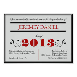 フォーマルな2013年-赤く及び黒い卒業カード カード