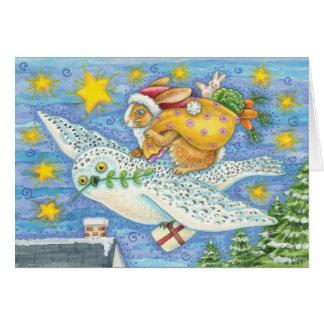 フクロウおよびウサギのクリスマスカード-休日カード カード