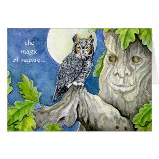 フクロウおよびカシの挨拶状 グリーティングカード