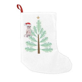 フクロウおよびクリスマスツリーのクリスマスのストッキング スモールクリスマスストッキング