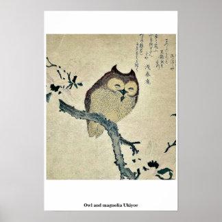 フクロウおよびマグノリアの浮世絵 ポスター