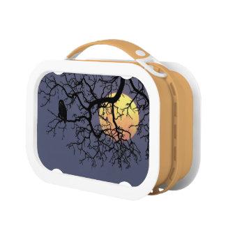 フクロウおよび月のオレンジyuboのお弁当箱 ランチボックス