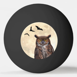 フクロウおよび満月 卓球ボール