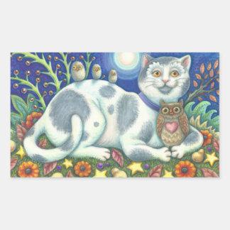 フクロウおよび猫の民芸CATのステッカーシート 長方形シール