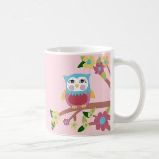 フクロウおよび花のマグ コーヒーマグカップ