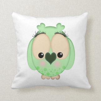 フクロウのアメリカ人のMoJoの緑の枕 クッション