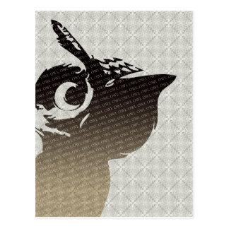 フクロウのイラストレーションの郵便はがき ポストカード