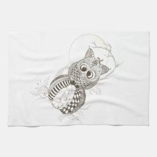 フクロウのカボチャハロウィン キッチンタオル